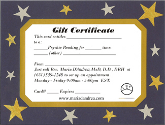 gift certificates for maria